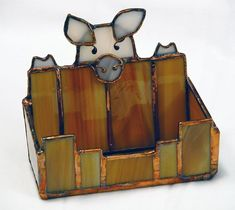 Business card holder/with piggy Stained Glass Lamp Shades, Stained Glass Light, Stained Glass Birds, Stained Glass Suncatchers, Stained Glass Designs, Stained Glass Projects, Stained Glass Patterns, Stained Glass Windows, Glass Installation