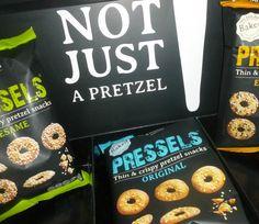 Pressels, flat pretzels. Thin on size, full on flavor!