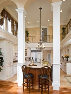 Two Story Kitchen Design - I want! Combine the two-story concept with my other favorite design and you truly have my dream kitchen! Dreamhouse Barbie, Style At Home, Home Design, Design Ideas, Designs, Design Inspiration, Beautiful Kitchens, Beautiful Homes, Home Interior