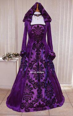 Medieval Gothic Hooded Velvet and Taffeta Purple Dress, Dawns Medieval Dresses