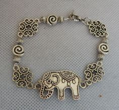 "Silver Elephant Link Bracelet Jewelry Handmade Accessories 8"" Fashion Beaded NEW #handmade #Chain"