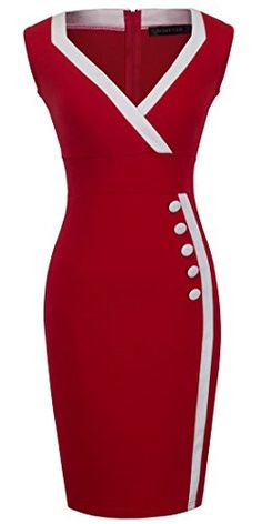 Homeyee Women's Casual Button Wiggle Dress (S, red) . Simple Dresses, Elegant Dresses, Cute Dresses, Vintage Dresses, Beautiful Dresses, Dresses For Work, African Fashion Skirts, African Dress, Dress Outfits