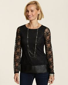 Chico's Lexy Lace Peplum Top