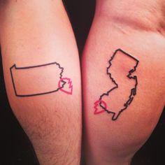 #pennsylvaniatattoo #newjerseytattoo by @jdelzel #bfftattoos #togetherforever #lovetattoos #independenttattoo #statetattoos #calftattoos