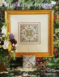 Exquisite Just Nan MISS KITTY'S DRAGONS Cat Dragonfly Sampler & Embellishment Accessory Pack Kit - Counted Cross Stitch Pattern Chart