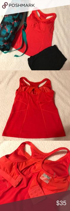 Athleta racerback top 38C RedOrange racerback top with built in bra! Size 38C like new condition! Athleta Tops Tank Tops