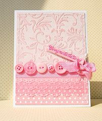 handmade card ... monochromatic pinks ... luv the variety of pink things on this card ... inked highlights of embossing folder ... lovely ...