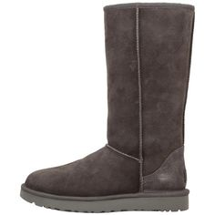 UGG Classic Tall II ($200) ❤ liked on Polyvore featuring shoes, boots, mid-calf boots, gray fur boots, faux-fur boots, gray mid calf boots, grey boots and tall boots
