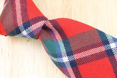 Vintage Necktie The Amanas Red Multicolor Plaid by ThePlaidBowTie