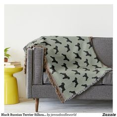 Black Russian Terrier Silhouettes Pattern Throw Blanket