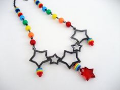 Rainbow Star Necklace - Gunmetal Stars with bright rainbow beads - Kawaii Rainbow Kandi Raver