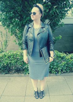 idea for grey leather jacket - dress.