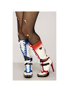 Look good for your puddin' in this pair of women's Harley Quinn costume boots based on Suicide Squad. Includes one pair of shoes. Available in size Do not wash. White High Heel Boots, White Boots, Costume Supercenter, Harley Quinn Costume Plus Size, Plus Size Designers, Plus Size Shopping, Trendy Plus Size, A Team, Amigurumi