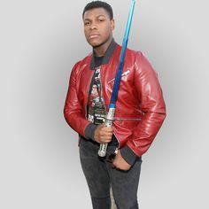 #StarWars #JohnBoyega 2015 Red #Bomber #LeatherJacket