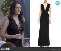 Frankie's black wrap maxi dress with metal trim on Community.  Outfit Details: http://wornontv.net/49338/ #Community