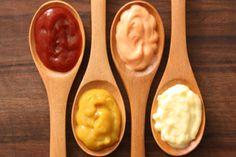 Homemade ketchup, mustard, mayo and chipotle sauces.