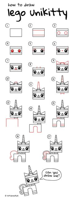 How to draw LEGO UNIKITTY. Easy drawing, step by step, perfect for kids! Let's draw kids. http://letsdrawkids.com/
