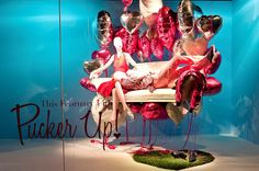 Balloons are a high impact, budget friendly way to create a Valentine's Display   DAY WINDOWS: PUCKER UP! – Holts Muse