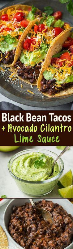 Black Bean Tacos with Avocado Cilantro Lime Crema - Cooking Classy vegetarian mexican recipes; Veggie Recipes, Mexican Food Recipes, Whole Food Recipes, Vegetarian Recipes, Cooking Recipes, Healthy Recipes, Vegetarian Mexican, Diet Recipes, Mexican Slaw