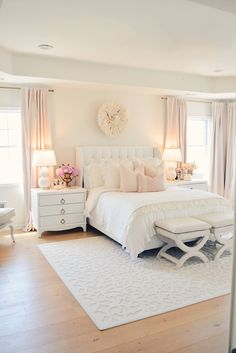 My all white master bedroom recently got a mini makeover for spring and I'm so excited to share with you guys. how to decorate with white. bedroom furniture Elegant White Master Bedroom & Blush Decorative Pillows - The Pink Dream Cute Bedroom Ideas, Girl Bedroom Designs, Room Ideas Bedroom, Home Decor Bedroom, Bed Rooms, Blush Bedroom Decor, Bedroom Sets, Shabby Bedroom, Room Design Bedroom