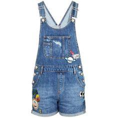 TopShop Petite Badge Short Dungaree (1.444.975 VND) ❤ liked on Polyvore featuring jumpsuits, rompers, topshop jumpsuit, denim jumpsuit, topshop, denim dungaree and vintage denim jumpsuit