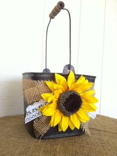 Sunflower Burlap and Lace Flower Girl Basket  by blossomsnburlap, $35.00