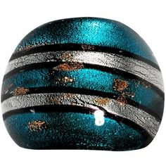 Handmade Aqua Silver Striped Glass Ring Body Candy. $3.99. Save 83% Off!