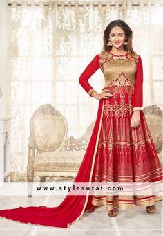 Admiring Red Color Printed Anarkali Salwar Suit