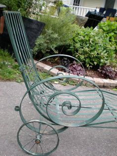Vintage wrought iron chaise with canopy holders by plainandelegant,