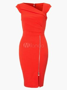 Red Asymmetrical Neck Zipper Front Bodycon Dress. Get awesome discounts up to 70% Off at Milanoo using Coupon & Promo Codes.