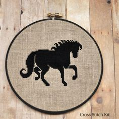 Black Horse Cross Stitch Kit by Sewingseed on Etsy, $20.00