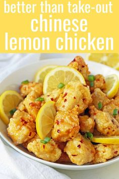 chinese meals Chinese Lemon Chicken made with crispy fried chicken covered in an authentic, fresh lemon sauce. The ultimate Chinese Lemon Chicken Recipe which is way better than take-out Homemade Chinese Food, Easy Chinese Recipes, Asian Recipes, Beef Recipes, Vegetarian Recipes, Cooking Recipes, Healthy Recipes, Chinese Meals, Authentic Chinese Recipes