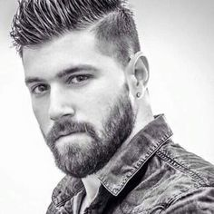 Mid Fade with Hard Part and Beard