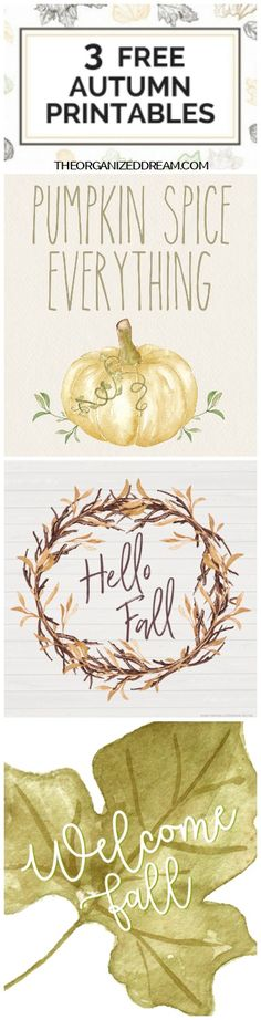 Watercolor Printables with Modern Fonts - 3 Free Autumn Inspired Prints