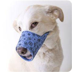 Blue Bandana Fabric Muzzle #bandana #fabric #muzzle #dog #poshpuppyboutique