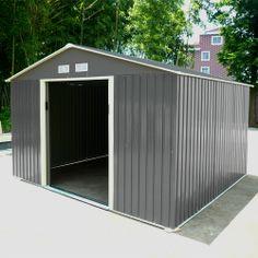 Abri de jardin en métal 4.8 m2 gris + kit d\'ancrage inclus | Double ...