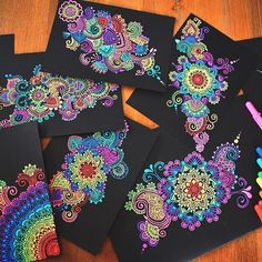 Hey guys!  An assortment of all the gelly roll doodles I've drawn🤓 I'm a tad bit obsessed I put this on my story but tell me below which one is your favourite☺️ hope your all having a lovely week! ❤ And of course THANK YOU SO MUCH FOR 90 thousand! 🙀🙀💕💕 #mandala#zentangle#doodles#colourful