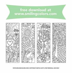 If you are a bookworm or a colorist grab these free bookmarks to color and have fun coloring them in. You can watercolor on these, use color pencils or any coloring medium of your choice. Bookmarks Diy Kids, Free Printable Bookmarks, Corner Bookmarks, Templates Printable Free, Printables, Envelope Templates, Handmade Bookmarks, Handmade Crafts, Free Adult Coloring Pages