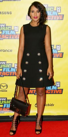 Kerry Washington landed in Austin, Texas to host a panel at SXSW with InStyle's Ariel Foxman to talk about all thing social media, and she wore a pretty bejeweled Dolce & Gabbana LBD styled with a black ladylike Ferragamo shoulder bag and killer strappy Louboutins.
