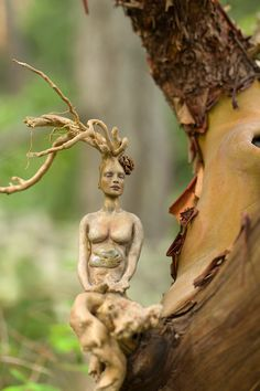 Meditating Driftwood Roots Woman, created by Debra Bernier, British Columbia, Canada
