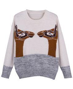 Mix-tone Alpaca-intarsia Loose Pullover Jumper