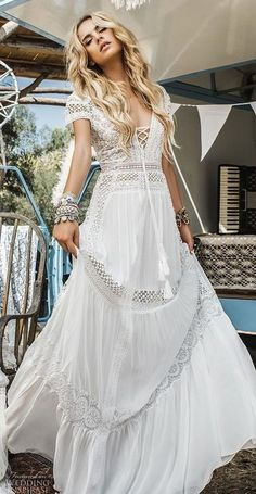 inbal raviv 2017 bridal sjprt sleeves deep v neck heavily embellished bodice boh. inbal raviv 2017 bridal sjprt sleeves deep v neck heavily embellished bodice boh. Bohemian Wedding Dresses, Hippie Dresses, Bridal Dresses, Wedding Gowns, Bridesmaid Dresses, Bridesmaids, Dresses Dresses, Boho Wedding Dress Bohemian, Bohemian Gypsy