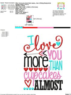 Embroidery design 5x7 6x10 I love you more than by SoCuteAppliques https://www.etsy.com/listing/260098589/embroidery-design-5x7-6x10-i-love-you