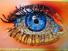 Work in progress, the eye in Mosaic - Hand cut stone