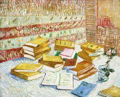 """Vincent van Gogh / Still Life with Books, """"Romans Parisiens"""", 1888"""
