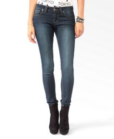 Sandblasted Denim Skinnies | FOREVER21 - 2030187001