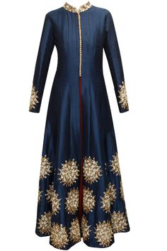 Blue floral embroidered motif kurta with maroon strappy inner available only at Pernia's Pop-Up Shop.