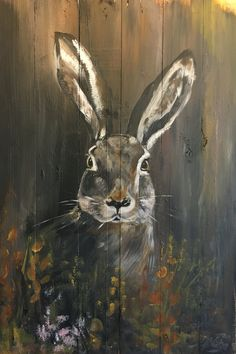 Hare on wood