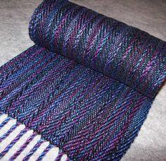 Handwoven Tencel Scarf  Vertical Ribbons  Purple by eweniquelyewe, $68.00
