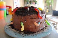 chocolate mud cake, with worms!!!